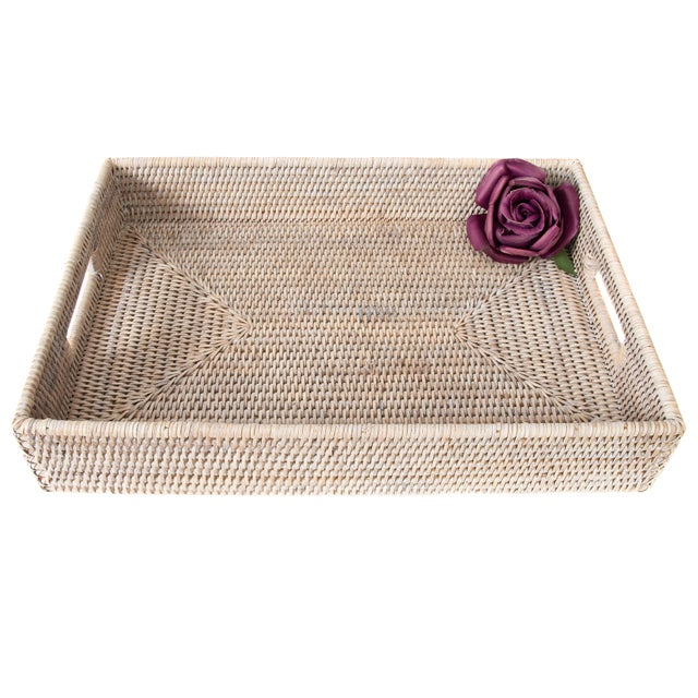 2010s Artifacts Rattan Rectangular Tray With Cutout Handles For Sale - Image 5 of 6