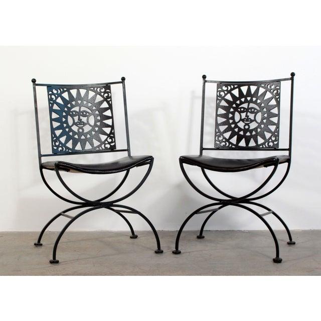 1950s Mid Century Modern Arthur Umanoff Mayan Sun Cast Iron Chairs - a Pair For Sale - Image 13 of 13