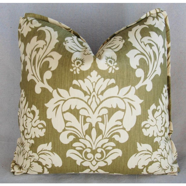 "21"" Designer Brule Fabric Randall Damask Feather/Down Pillows - Pair For Sale - Image 5 of 11"