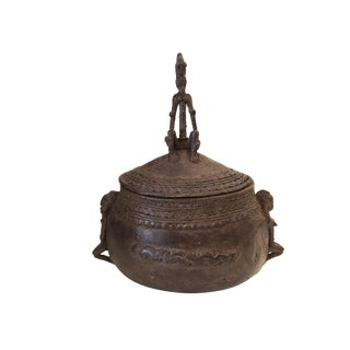 Dogon Bronze Box with a Seated Male Figure For Sale