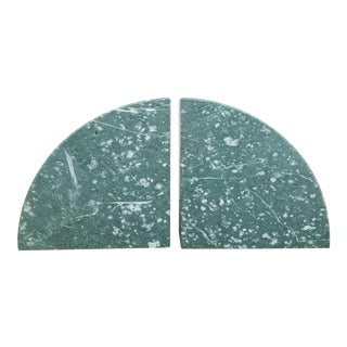 Green Marble Bookends - a Pair