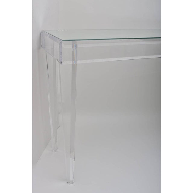 """Vintage Lucite and Mirror Console 60"""" - Floor Sample For Sale - Image 10 of 13"""
