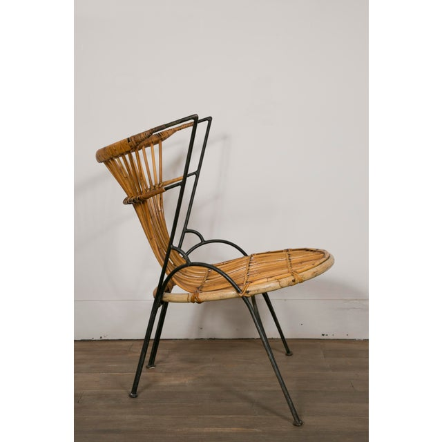 Set of 3 Metal and Wicker Slipper Chairs For Sale - Image 6 of 11