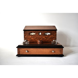 Victorian Tiger Oak Letterbox and Inkstand With Perpetual Calendar Preview