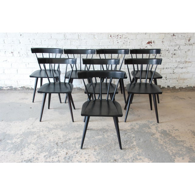 Set of Eight Paul McCobb Ebonized Planner Group Dining Chairs For Sale In South Bend - Image 6 of 13