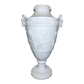 Classical Grand Tour Style Vase With Cupid's and Ram Head Handles For Sale