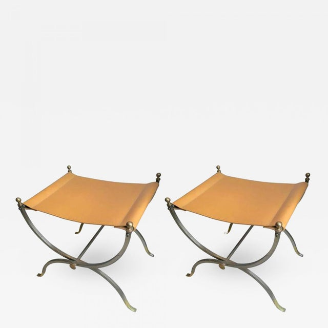Maison Charles Maison Charles Pair of Bronze, Steel and Leather Folding Pure Pair of Stools For Sale - Image 4 of 4