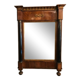 19th Century Empire Style Carved Mahogany Mirror For Sale