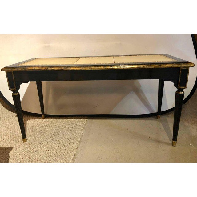 Ebonized Jansen Style Coffee Table With a Greek Key Design and Leather Top For Sale - Image 12 of 13