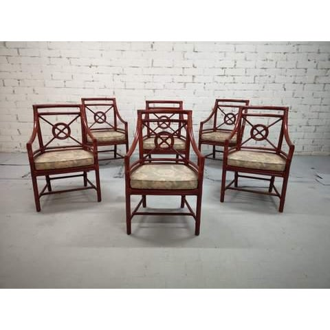 6 unique 1970s Italian Chippendale red bamboo armchairs with original seats. Very good vintage condition both structurally...
