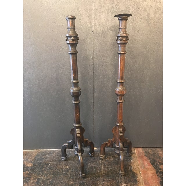 Napoleon III Oak Prickets in the Henri II Style - a Pair For Sale - Image 11 of 11