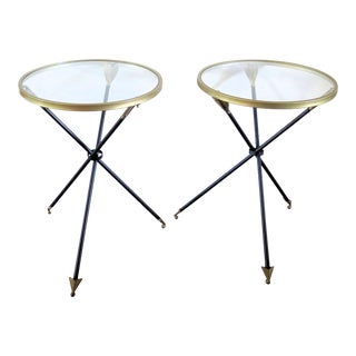 French Art Deco Style Arrow Leg Side Tables - A Pair For Sale