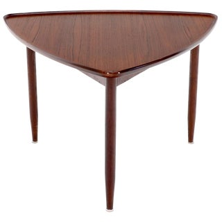 Rounded triangle Shape Teak Danish Modern Side Occasional Table Stand For Sale