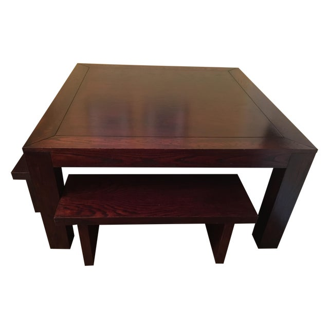 Hand Crafted Oak Table & Benches - Image 1 of 5