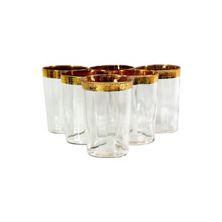 1920s Glass & Gold Patterned Glasses - Set of 6