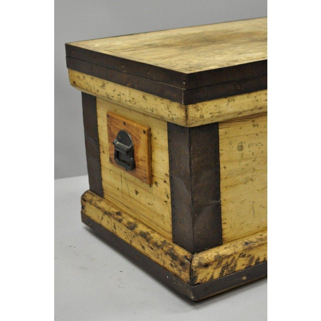Late 19th Century Antique Wood & Cast Iron Primitive Industrial Trunk Blanket Chest or Coffee Table For Sale - Image 5 of 13