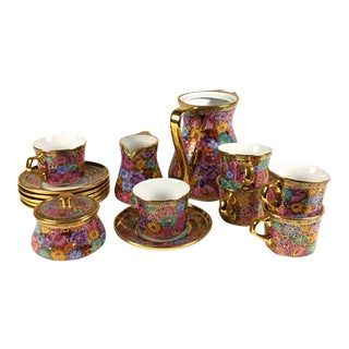 Vintage Thai Benjarong Tea Service Porcelain With 18 K Gold - Set of 16 For Sale