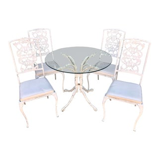 1940s Vintage Wrought Iron Dining Set- 5 Pieces For Sale