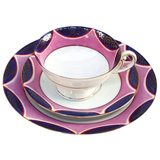 Midcentury Pink & Gold Dessert Set, S/3 For Sale
