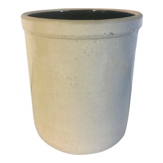 19th Century Antique Stoneware Crock With Brown Glazed Interior For Sale