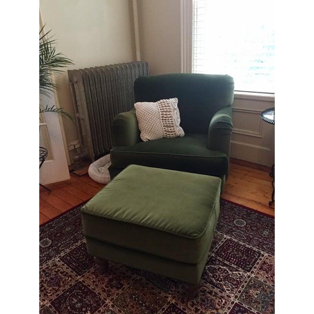 Green Roger + Chris Velvet Basel Armchair & Ottoman For Sale - Image 8 of 8