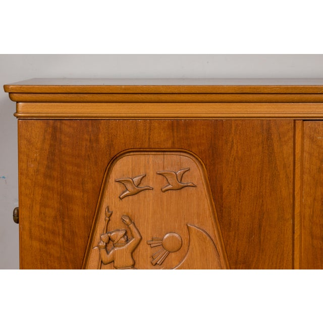 Wood 1961 E. Hoglunds Relief Carved Cabinet For Sale - Image 7 of 11