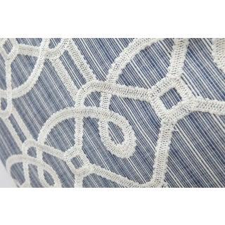 Schumacher Ziz Embroidery Blue Square Pillow 26x26 Preview