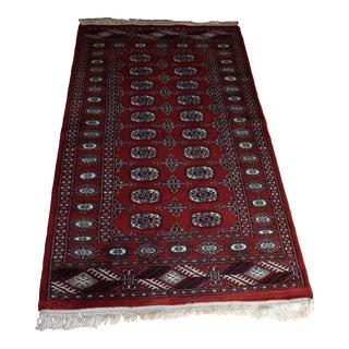 Vintage Hand Knotted Red Bokara Woolen Oriental Rug - 3′ × 5′7″ For Sale