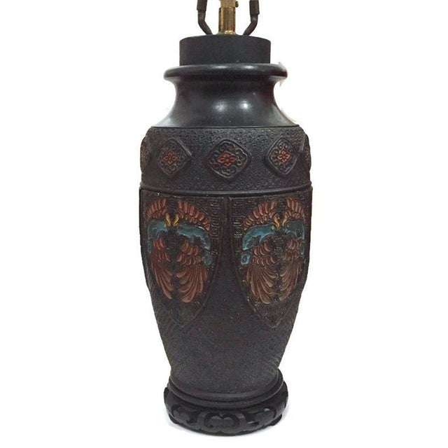 Bronze Mid Century Asian Metal Embellished Lamp For Sale - Image 9 of 13