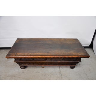 Vintage Mediterranean Graduated Carved Coffee Table W/ Two Drawers Preview