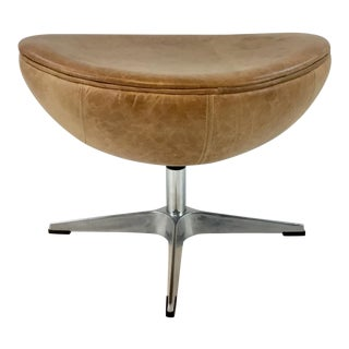 Mid-Century Modern Style Half Egg Leather Stool For Sale