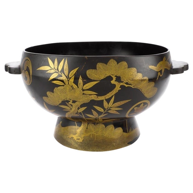 Antique Japanese Maki-E Lacquer Center Bowl For Sale