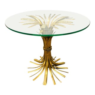 Hollywood Regency Italian Sheaf of Wheat Side Table For Sale