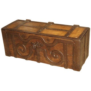 17th Century Oak and Iron Bound Money Trunk For Sale