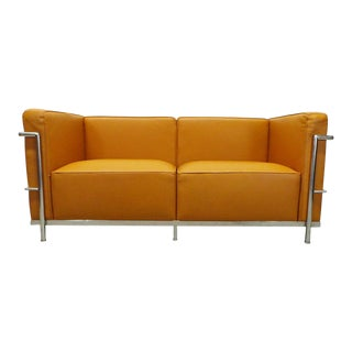Modern Le Corbusier Lc2 Style Chrome Framed Loveseat Sofa For Sale