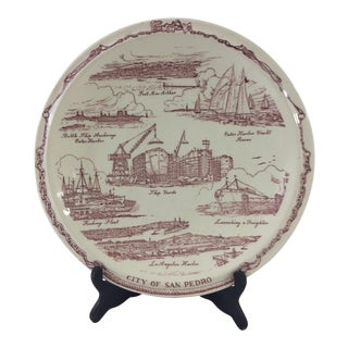 Vintage San Pedro, California Souvenir Plate For Sale