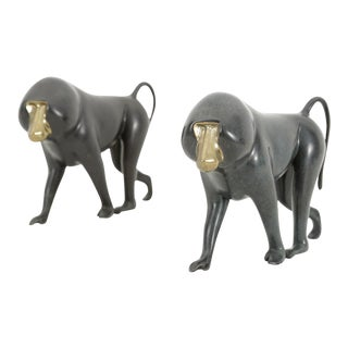 Set of Bronze Baboon Sculptures by Loet Vanderveen For Sale