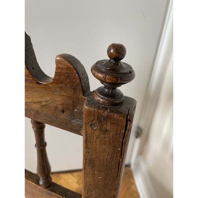 17th Century Italian Florentine Hand Carved Upholstered Walnut Side Chair For Sale - Image 9 of 13