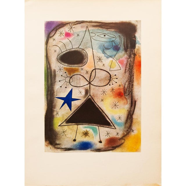 """Lithograph 1940s Juan Miró, """"Woman in the Night"""" Original Period Swiss Lithograph For Sale - Image 7 of 8"""