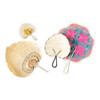 Set of 4 Vintage Woven Fans For Sale