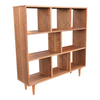 Danish-Modern 3-Tier Walnut Bookcase For Sale