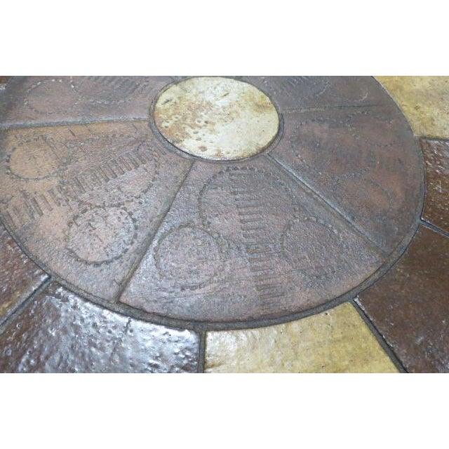 Haslev Vintage Danish Modern Solid Teak Round Coffee Table With Tile Top For Sale - Image 4 of 6