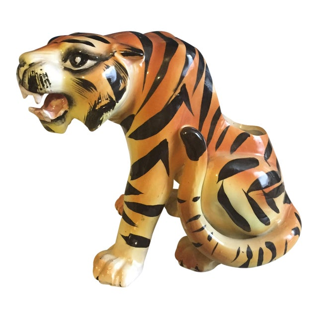 Mid-Century Crouching Tiger Cache Pot - Image 1 of 7