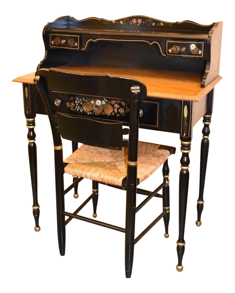 Early American Style Ethan Allen Desk U0026 Hitchcock Chair