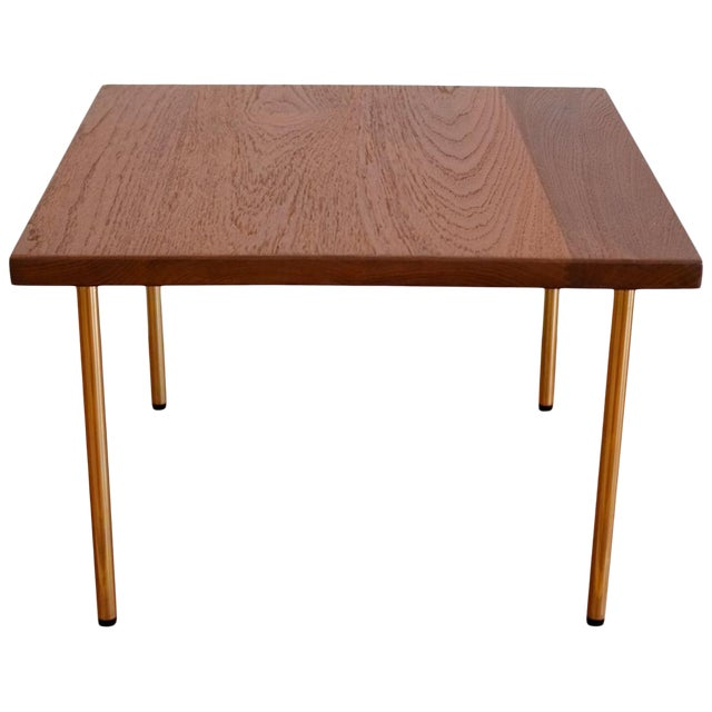 Peter Hvidt Teak Side Table With Brass Legs, 1950s For Sale