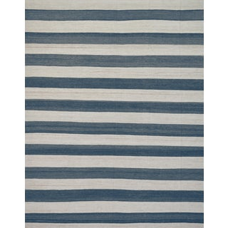 Mansour Wool Handwoven Flat Weave Striped Rug For Sale