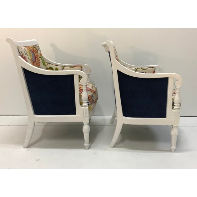 20th Century Pair Chairs Floral Pattern Cottage Style Painted Frames For Sale - Image 4 of 9