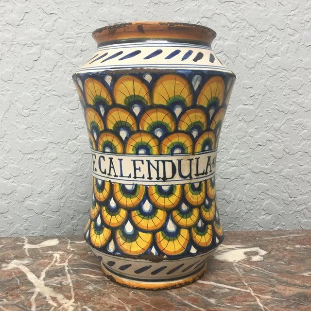 17th Century Italian Yellow Maiolica Pottery Albarello Drug Jar For Sale - Image 9 of 9
