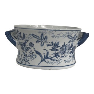 Chinese Blue and White Jardiniere Cachepot With Handles- Two Available For Sale