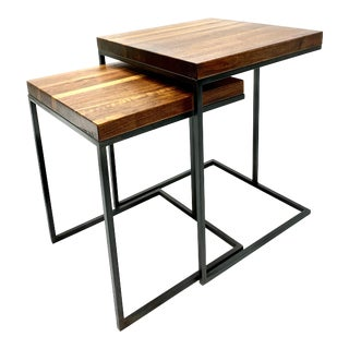 Walnut Nesting Tables - A Pair For Sale
